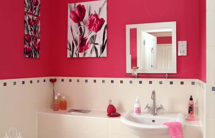 koyu pembe banyo dekorasyonu
