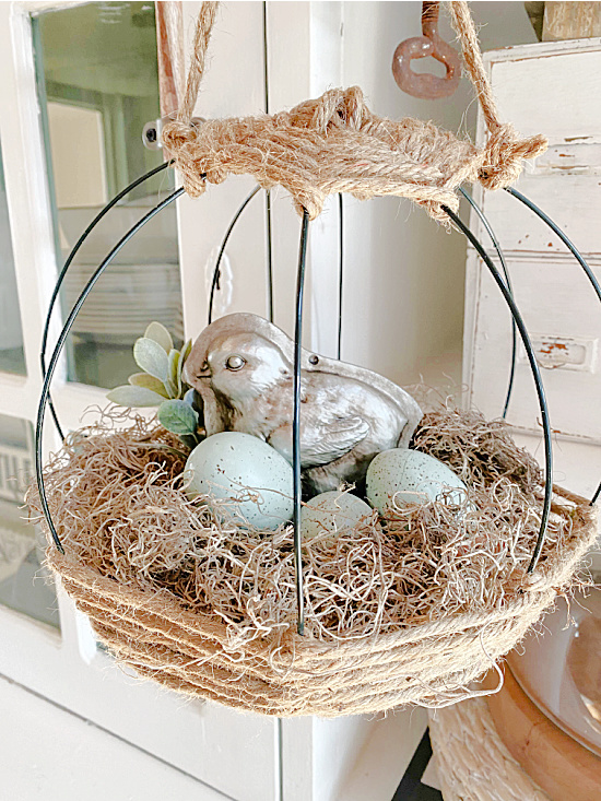 hanging jute basket with eggs
