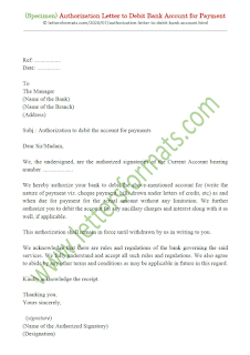 sample authorization letter to bank to debit account