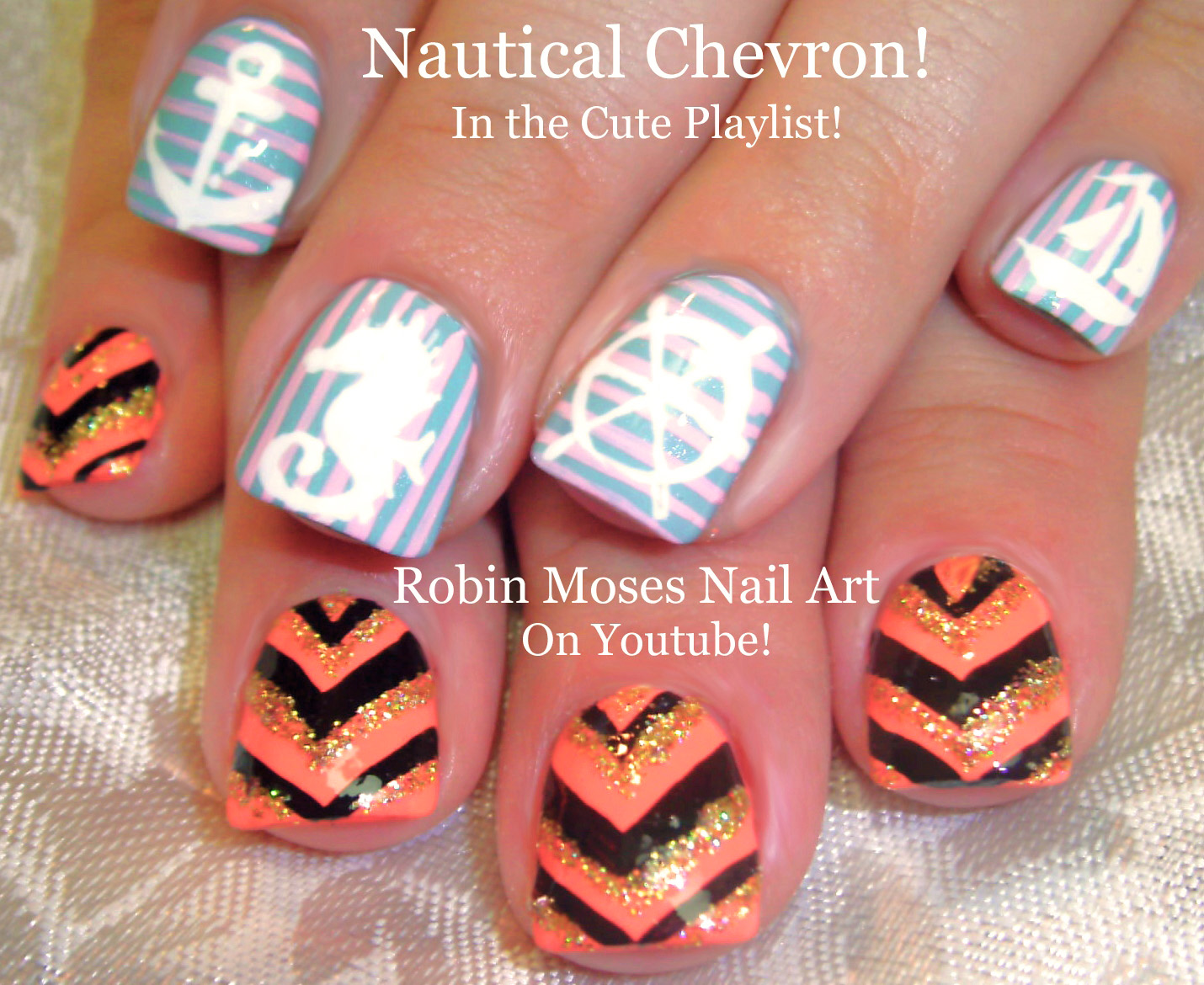Nail Art by Robin Moses: Nautical Nails and Sparkley Summer Chevron ...