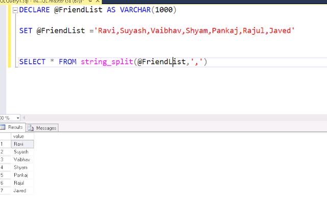 string_split function in SQL SERVER 2016