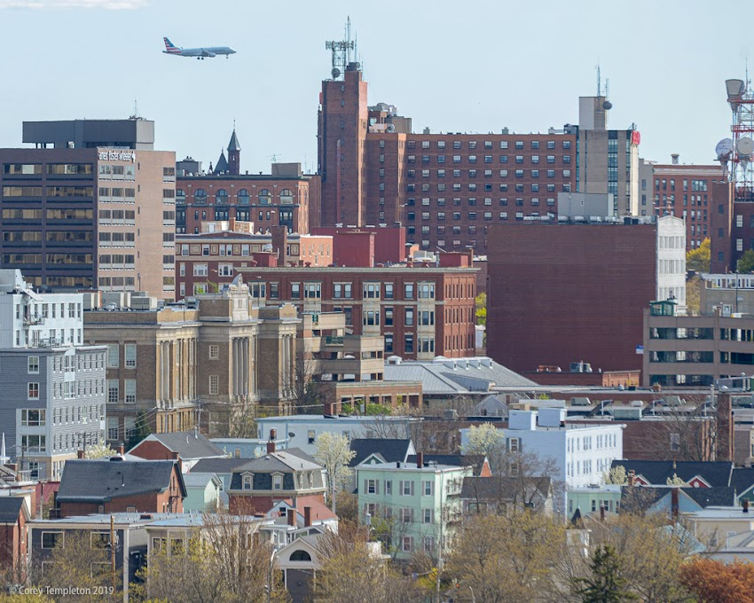 Portland, Maine USA May 2019 photo by Corey Templeton. Looking downtown from Sumner Park on Munjoy Hill.
