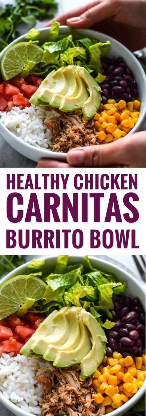 Healthy Chicken Carnitas Burrito Bowl #healthyfood #healthyrcipes #healthydinnerrecipes #healthydinnerideas #chicken #chickenrcipes #carnitas #burrito #burritobowl
