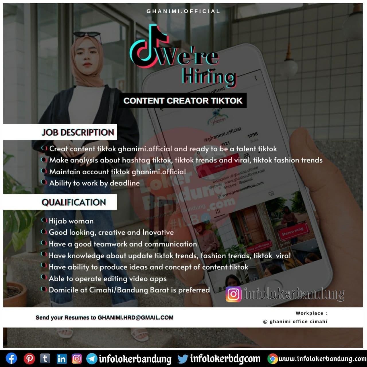 Lowongan Kerja Content Creator Tiktok Ghanimi Official Bandung Desember 2020