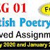 MEG 01 British Poetry Solved Assignment 2020–2021