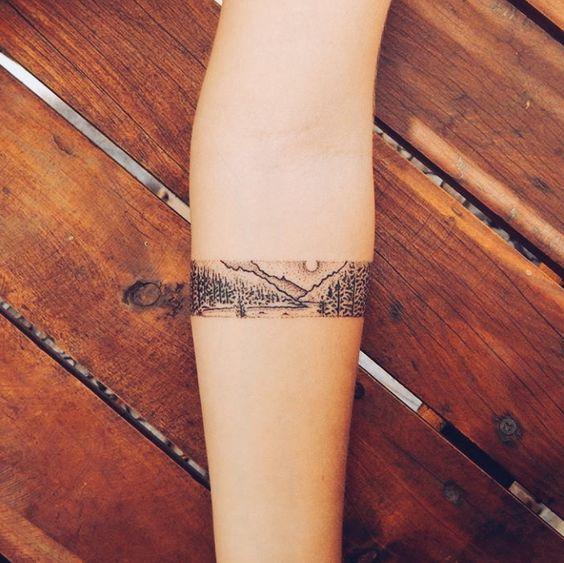 Lovely Fine Line Mountain Tattoos
