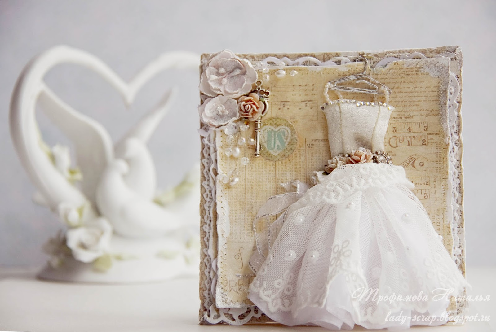 Открытка из ткани на свадьбу
