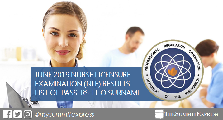 H-O List of Passers: NLE Result June 2019 nursing board exam