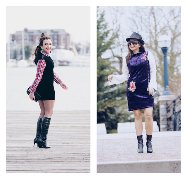 Game of Trends by Mari Estilo Wearing:  Purple Dress: JollyChic White Blouse: Choies Boots: Nine West Black Dress: Neiman Marcus Tshirt: Aero Postale Boots: Ralph Lauren