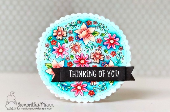 Thinking of You Floral Card by Samantha Mann | Floral Roundabout Stamp Set, Circle Frames Die Set, and Banner Trio Die Set by Newton's Nook Designs  #newtonsnook #handmade