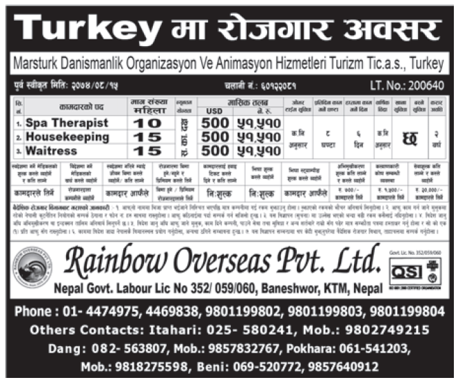 Jobs in Turkey for Nepali, salary Rs 51,510