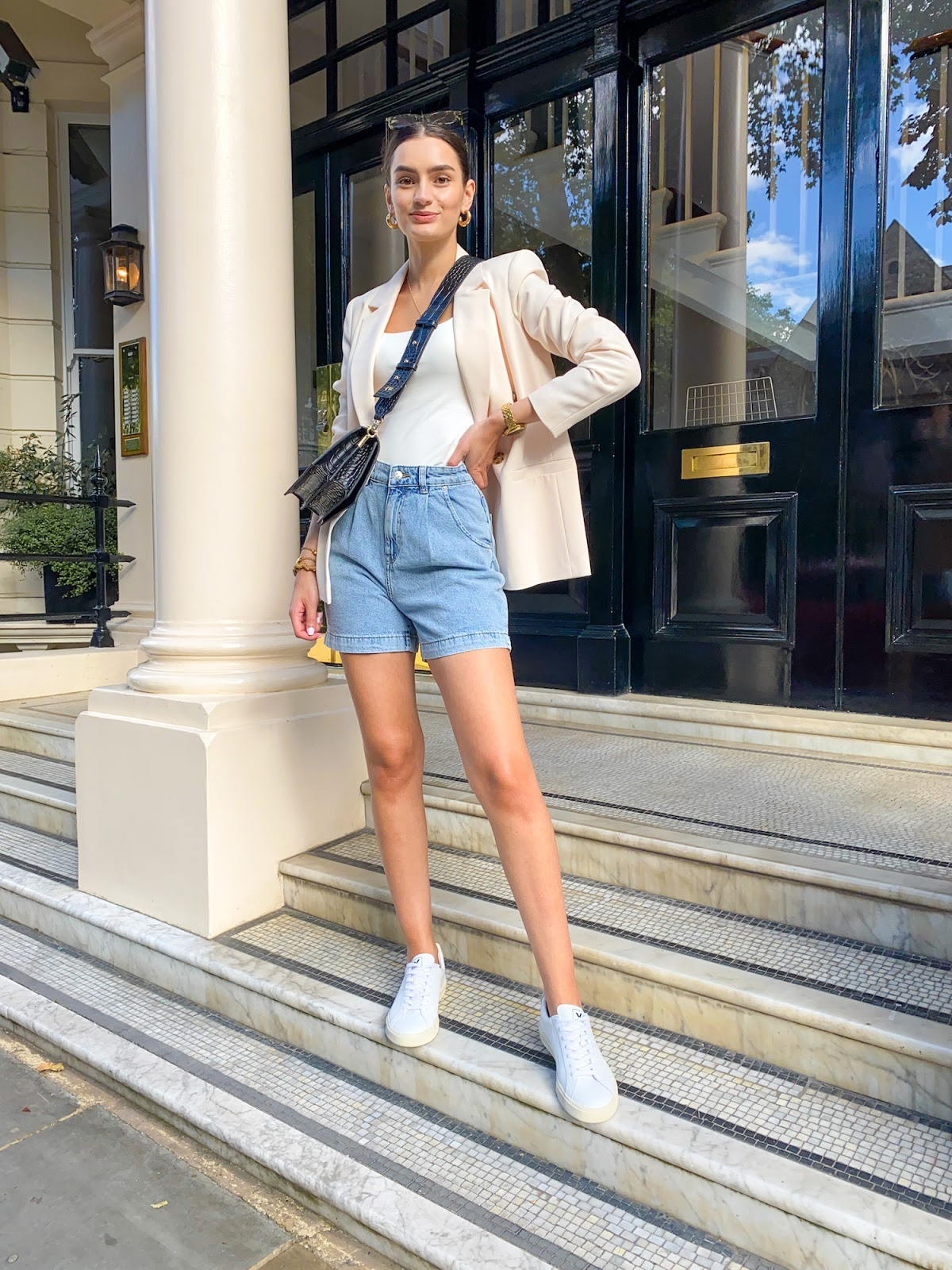 denim bermuda shorts summer styling