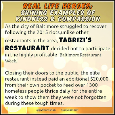 Following the Baltimore riots, Micheal Tabrizi closed his restaurant to the public, choosing to feed the homeless and displaced for free for 6 days during Baltimore's Restaurant Week