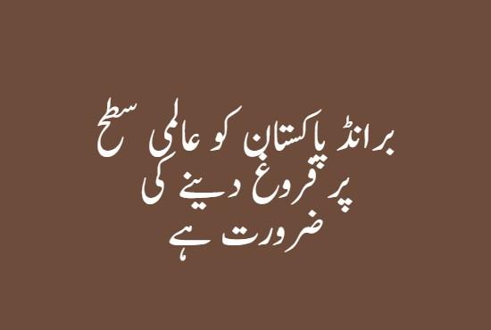 برانڈ پاکستان کو عالمی سطح پر فروغ دینے کی ضرورت ہے