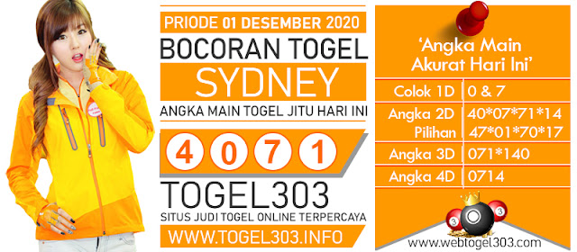 BOCORAN TOGEL JITU SYDNEY SELASA 01 DESEMBER 2020