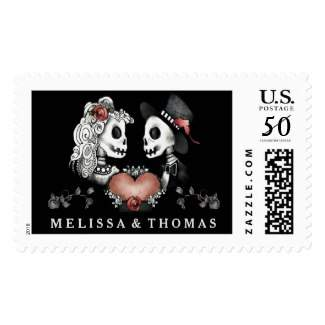 skeleton LOVE Matching Large Postage Stamp Add Your Names