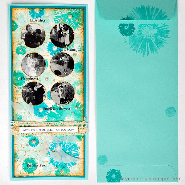 Layers of ink - Circle Photo Frame Slimline Card Tutorial by Anna-Karin Evaldsson.