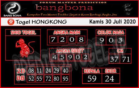 Prediksi Bangbona HK Kamis 30 Juli 2020
