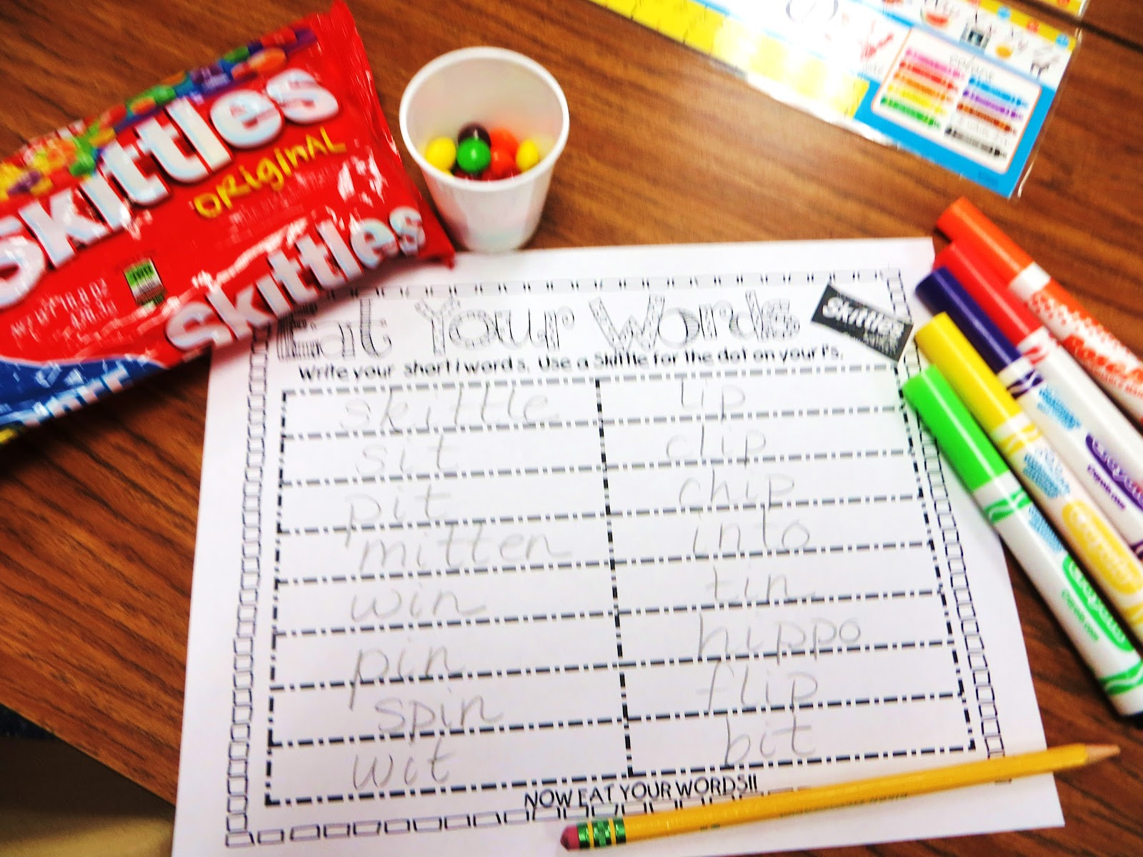 First Grade Wow Eat Your Words Skittles