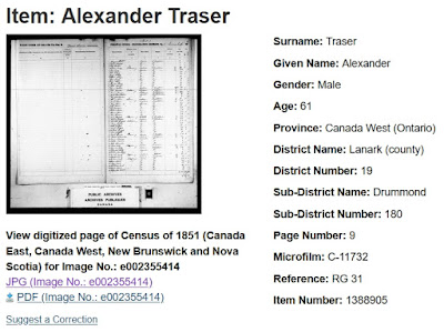Screen capture of the Library and Archives Canada Census of 1851 search results item page for Alexander Traser.