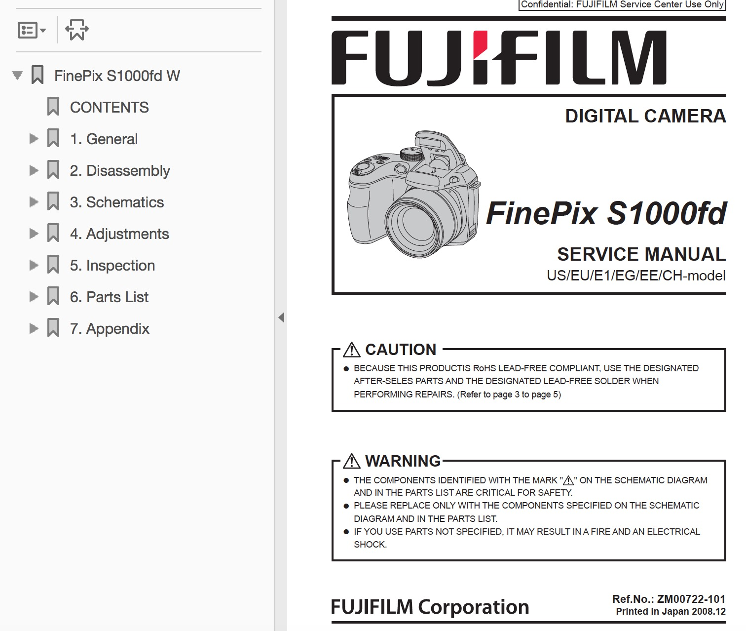 FUJIFILM FinePix S1000 S1000fd Digital Camera Service Repair Manual