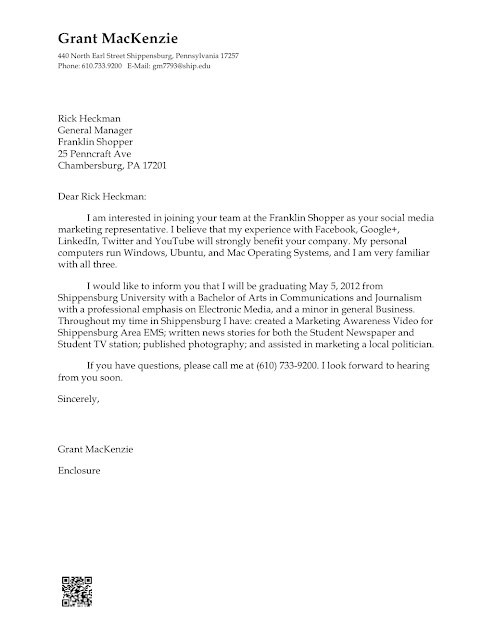 grant mackenzie u0026 39 s professional portfolio  cover letter