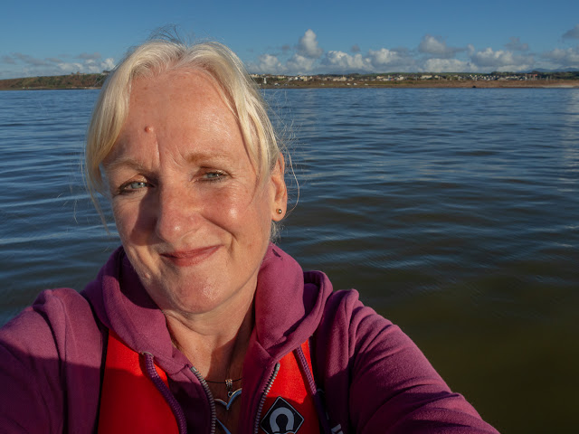 Photo of me enjoying the sunshine on the Solway Firth