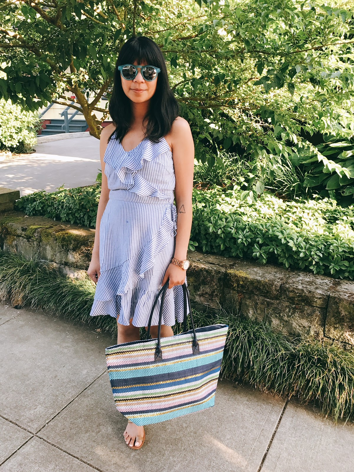summer outfit, blue striped ruffle dress, nude strappy sandals, blue sunglasses, straw bag, birkin straw bag, jane birkin, the story of, portland fashion blogger, ptowngirls,