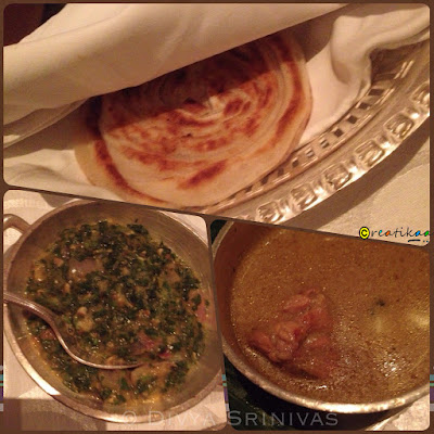 Parotta, Keerai, Chicken Kurma - beyond madras - restaurant review