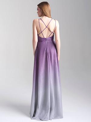 Strappy Back Madison James Prom Dresses Lavender color Back side