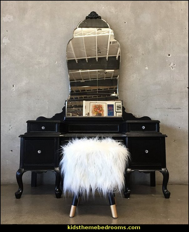 Vintage Gothic Revival Vanity with Modern Stool