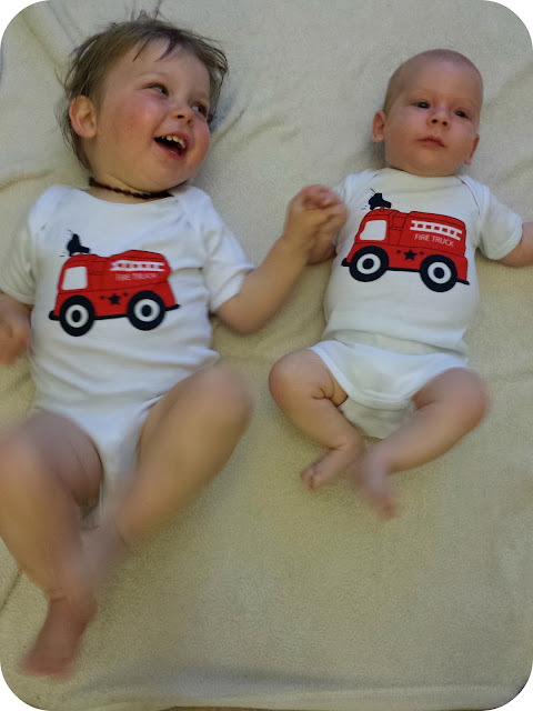 Matching vests, firetruck vests, brothers matching