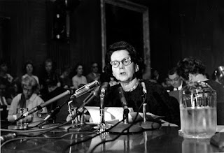 Rachel Carson testifying before the Senate Government Operations subcommittee studying pesticide spraying on June  4th, 1963.