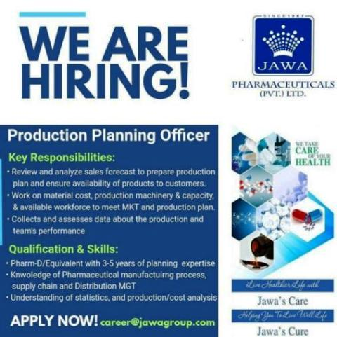 Job openings for Pharm-D / Equivalent as Production planning officer apply here.