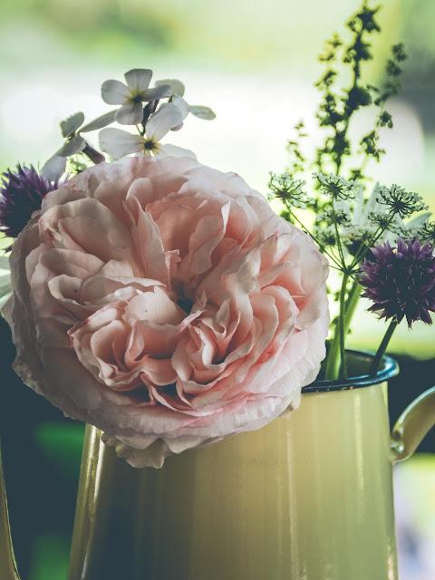 oude koffiepot met bloemen