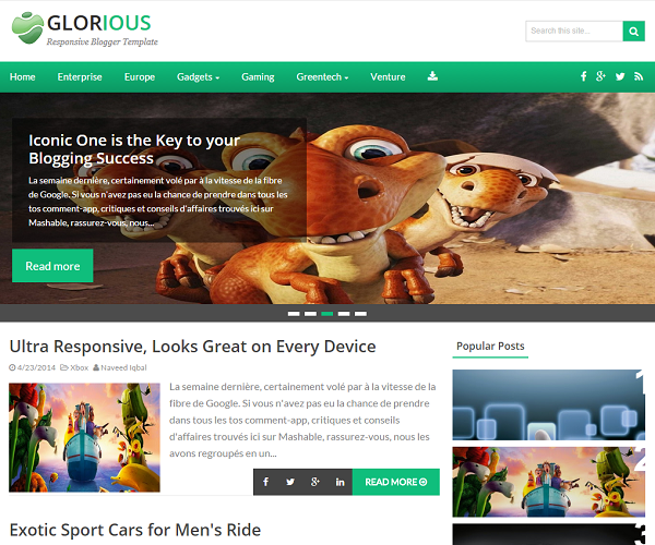 Glorious theme just launched for our blogger users.