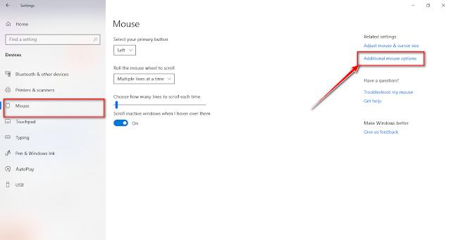 كيفية تغيير سرعة الماوس في ويندوز 10