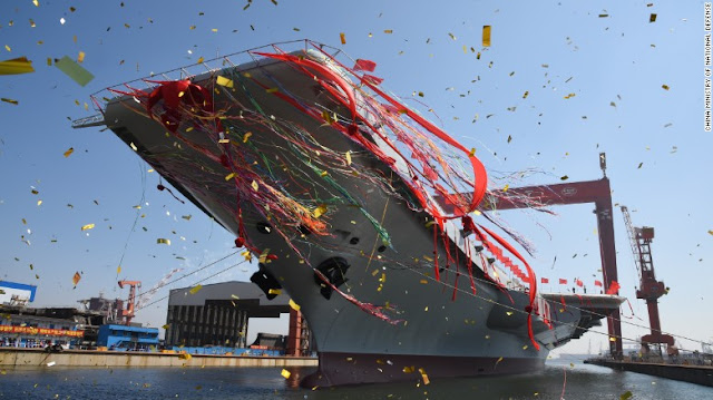 Image Attribute: China's second aircraft carrier was launched at a ceremony on April 26, 2017, / Source: Ministry of National Defence, PRC