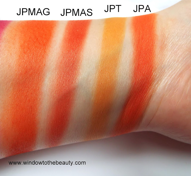 Juvia's Place orange eyeshadow from all palettes swatches