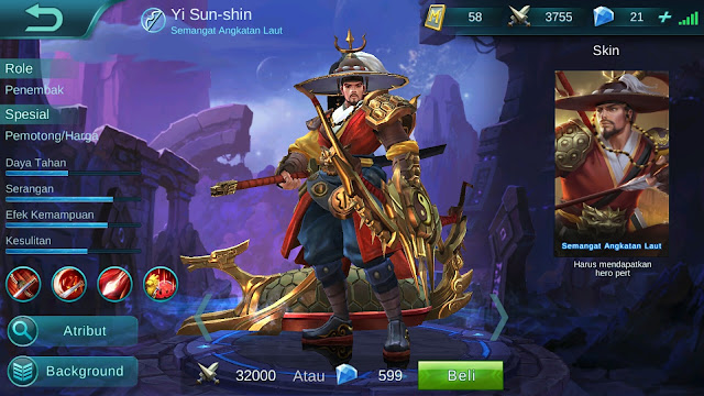 Hero Yi Sun Shin ( Semangat Angkatan Laut ) Dangerous Attack Damage Build Set up Gear