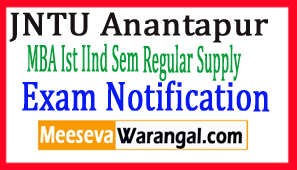 JNTU Anantapur MBA Ist  IInd Sem Regular Supply Jun-Jul 2017 Exam Notification