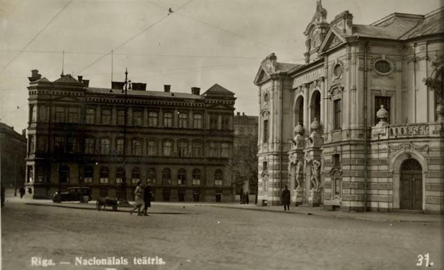 930-е годы. Рига. Бульвар Кронвальда и улица Валдемара. Латвийский Национальный театр