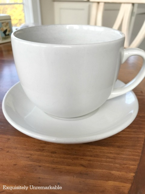 Clean white cup and saucer
