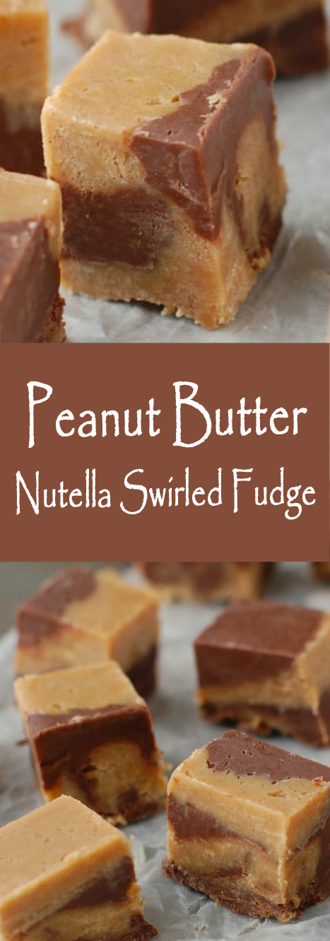 Recipe Peanut Butter Nutella Swirled Fudge #cookies #peanut