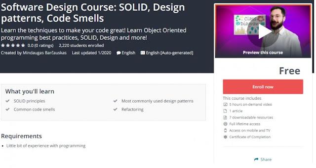 [100% Free] Software Design Course: SOLID, Design patterns, Code Smells