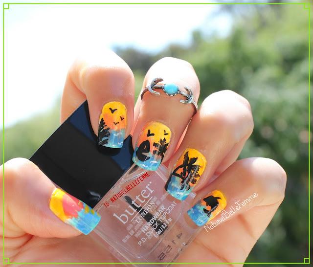 Sunset beach nail art