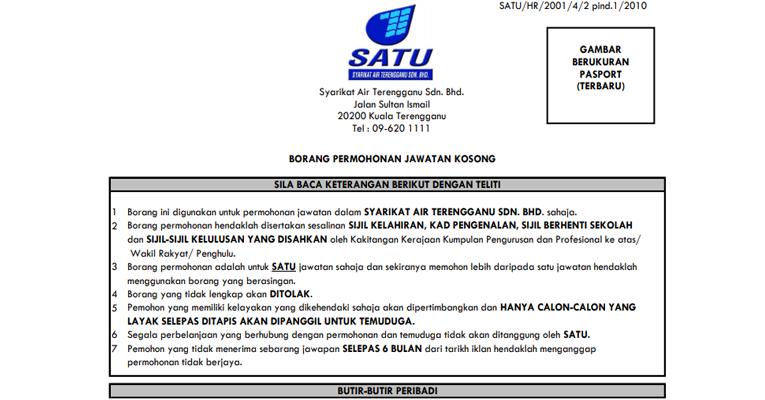 Jawatan Kosong di Syarikat Air Terengganu Sdn Bhd SATU