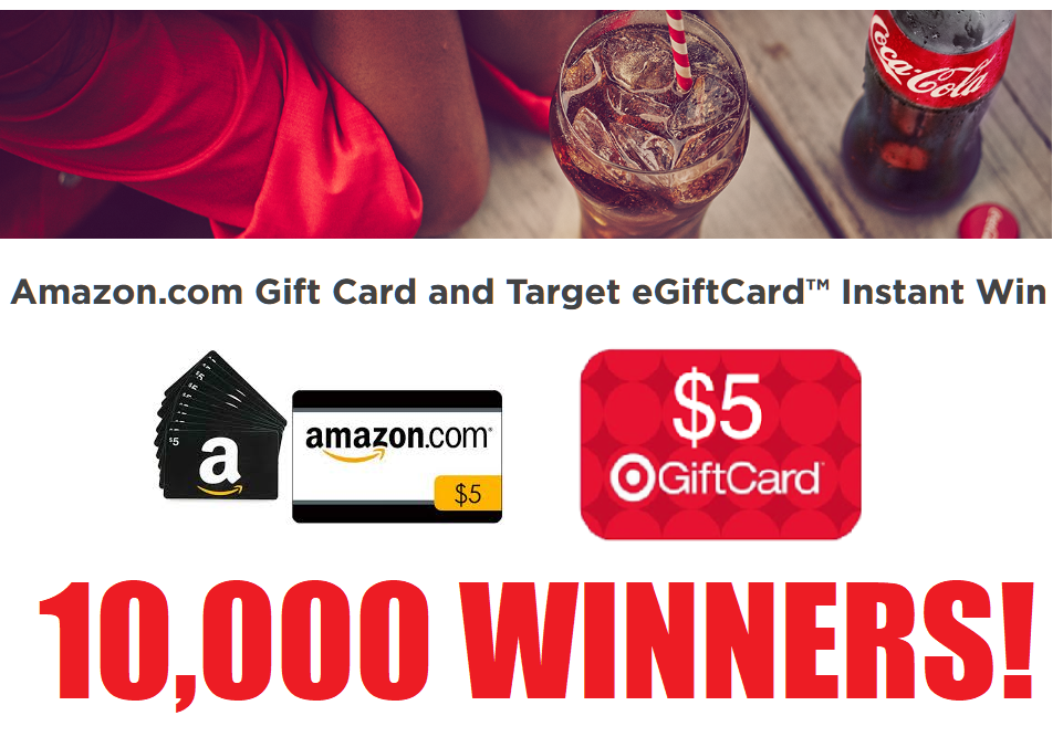 Amazon or Target Gift Card Instant Win Giveaway - 10,000