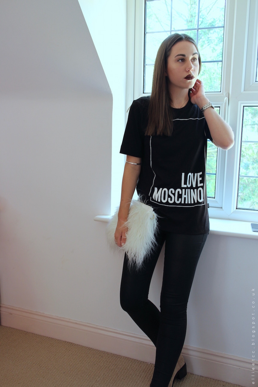 Tessuti, New Look, Love Moschino, T-shirt, #bloggersball, collaboration, sponsored, Moschino, luxury, brand, monochrome, H&M, fur clutch, outfit, style, OOTD, fashion,