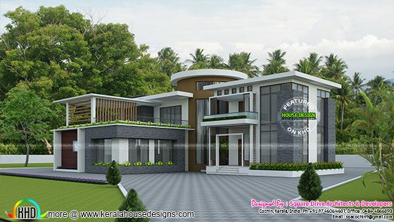 Modern round roof mix house plan